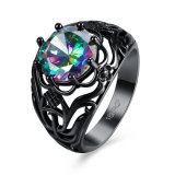Fashion Hollow-out Decorative Pattern with Colorful Zircon Black Gun Ring