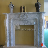 White Marble Carved Polished Fireplace for Interior Derative