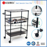 Adjustable Epoxy Black Metal Kitchen Dining Cart (CJ-B1121)