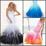 Multi Colors Prom Dress Sequins Mermaid Layered Tulle Evening Gown E1476