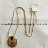 Long Gold-Plated Necklacewith Circular Pendant Fashion Jewelry