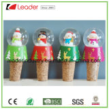 Polyresin Christmas Snow Globe with Wine Bottle Stopper for Christmas Decoration, Customized Snow Globe