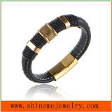 High Quality Jewelry Reverse Magnetic Buckle Leather Bracelet Bangle (BL2866)