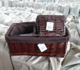 Wicker Basket with Fabric Liner