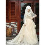 Muslim Satin Tulle Lace Decent Wedding Dress (Dream-100059)
