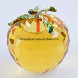 80mm Big Yellow Crystal Glass Apple for Decoration Paperweight