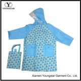 Fashion Design Printed PVC Rain Coat for Children with Handbag