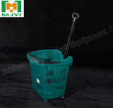 Plastic Shopping Basket with Wheels with Factory Sale
