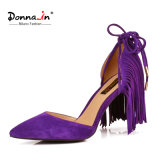 (Donna-in) Kid Suede Tassel Lace-up Pointed Toe Women Thin High Heel Sandals