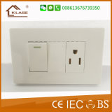 15A 1gang White PC Wall Control Switch Socket Outlet