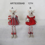 Pompom Legged Mouse with Gift+Baby, Christmas Decoration 2 Asst