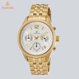 Women′s Chronograph Gold Tone Stainless Steel Watch Quartz Wristwatch 71304
