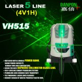 Rechargeable Green Beam High Precision Five Lines Green Laser Level (4V1H1D) 50m Receviable