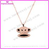Glitter Powder Monkey Shape Stainless Steel Jewelry Pendant Necklace