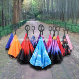 New Invention Upside Down Inverted Reverse Umbrella with C Handle