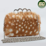Best Selling Women′s Fashionable & Elegant Fake Rabbit Fur Evening Bag with Metal handle Eb846