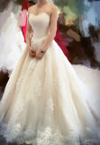 Sweetheart Champagne Bridal Wedding Ball Gown with Crystal Stones (W709)