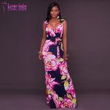 Santiaga Navy-Blue Pink Floral Print Long Party Dress L51427