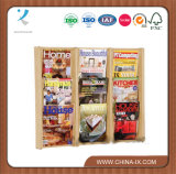 Wall Mounted 3 Tiered 9-Pocket Wood Literature Holder