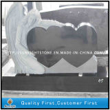Angel and Double Heart Shaped Granite Memorial Monuments Tombstone