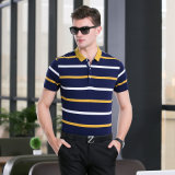 Mecerized Cotton Striped Floral Short Sleeve Classic Fit Casual Polo Shirt Tee Tops