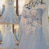 Hot Sale Elegant a-Line Sweetheart Backless Beaded Bodice Layered Organza Skirt Wedding Dress Designer (MN1060)