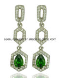 925 Fashion Sterling Silver Square Dangle Earrings with Green Setting Stones