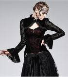 Long Sleeve Sexy Gothic Black and Red Flocking Lace Coat (Y-562)