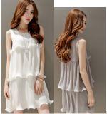 High Quality 2015 Summer Sweet Falbala Ladies Chiffon Dresses