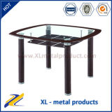 4 Seaters Glass Top Leather Covered Leg Dining Table
