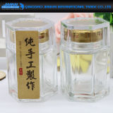 Hexagonal Jam Jar Glass Bottle with Diamond Shape Lids