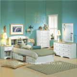 Kids White Wood Captain′s 4 Piece Bedroom Set