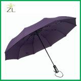 10 Ribs Pongee Auto Open and Close Automatic 3 Folding Umbrella