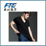 Black Plain Cotton T-Shirt with Custom Logo Printed