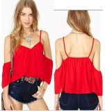 OEM Strapless Short Sleeve Fashion Lady Chiffon Blouse