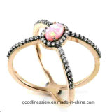Modern Personalized Design Jewelry 925 Sterling Silver Micro Pave Opal Ring R10128