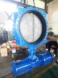 Ggg45 Ductile Iron Pneumatic Actuated Double Flanged Butterfly Valve with Stainless Steel Disc
