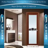 Wooden Color Aluminum Casement Door Hinged Door Brathroom Doors