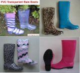 China New Fashion PVC Rain Boot, Women Transparent Boots, Rain Boot