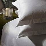 100% Cotton Solid Color Jacquard Hotel Pillowcase White Pillowcover