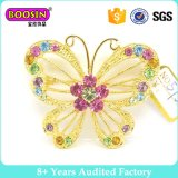 Custom Gold Metal Crystal Butterfly Pin Brooch for Woman