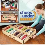Holder Intake Under Bed Closet Fabric Bag Box 12 Pairs Shoes Storage Organizer