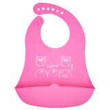 Pink Piggie FDA Baby Products Supplier Packagable Silicone Bib with Catcher for Girl