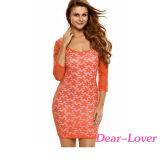 Orange Floral Lace Overlay Sexy Party Dress