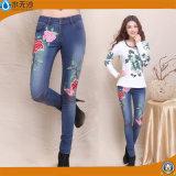 2017 Fashion Women Embroidery Pants Factory OEM Cotton Denim Jeans