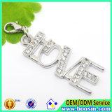 Fashion Alloy Custom Metal Crystal Love Charm Jewelry