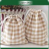 OEM Design Export Plaid Small Cotton Bags Drawstring
