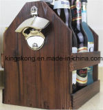 Wooden Wine Basket with Handle and Bottle Opener