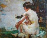 Handmade Indian Nude Woman Painting on Canvas Ebf-034