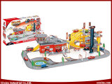 Toys Car Fire Station Parking Lot DIY Toys with 8 Plastic Car